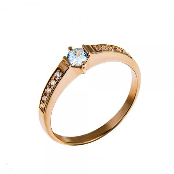 Кольцо золотое с бриллиантом 3К056д