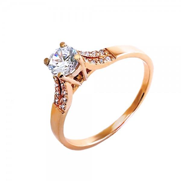 Кольцо золотое с фианитом 1К059