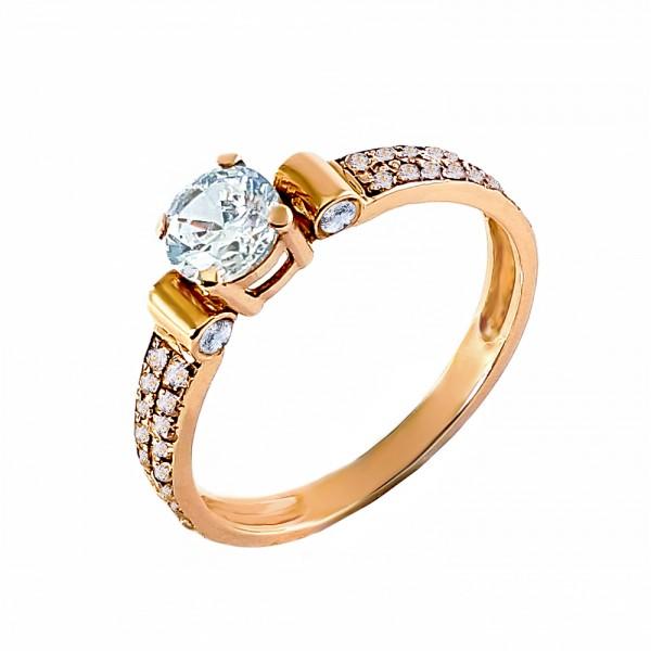 Кольцо золотое с бриллиантом 3К063д