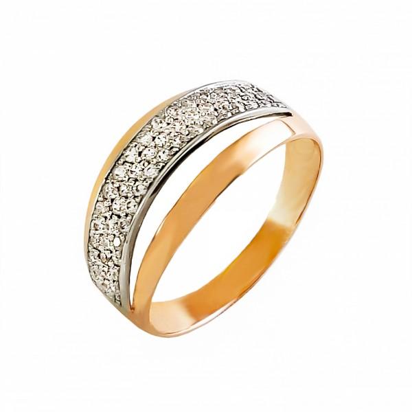 Кольцо золотое с фианитами 1К069