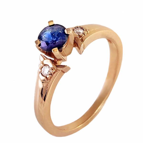 Кольцо золотое с сапфиром и бриллиантами 3К075ДСп