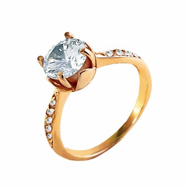 Кольцо золотое с фианитами 1К076
