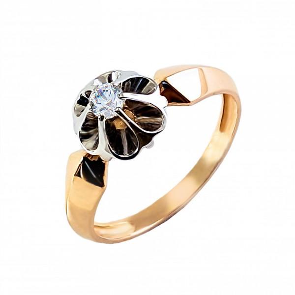 Кольцо золотое с бриллиантом 3К013д