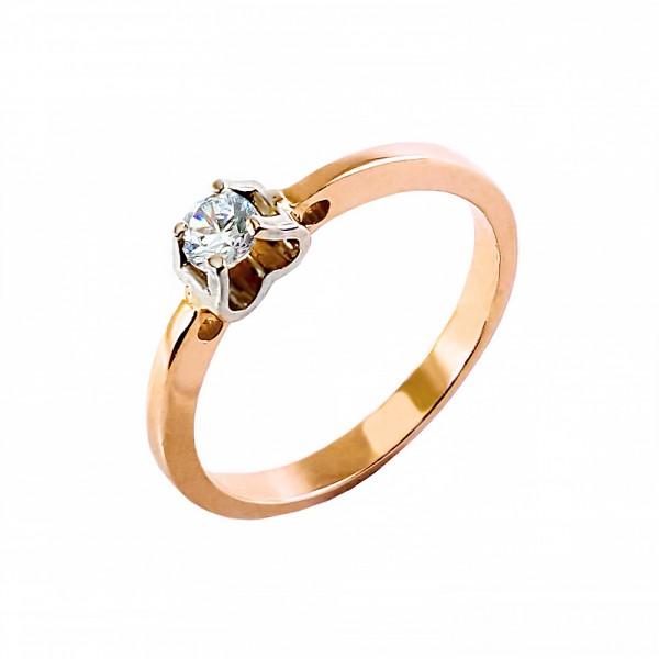 Кольцо золотое с бриллиантом 3К043д