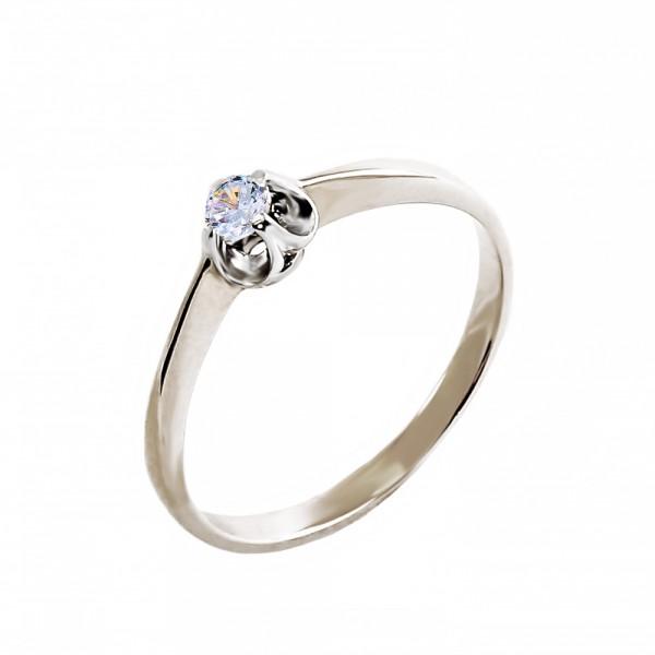 Кольцо золотое с фианитом 1К017б