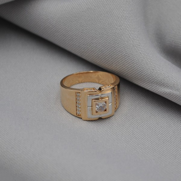Перстень золотой с фианитами 1А3/205510