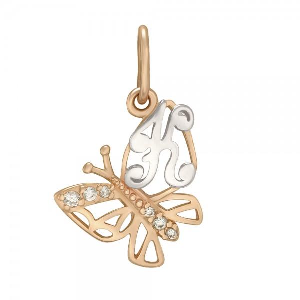 Подвеска золотая с фианитами Буква «К» 150338