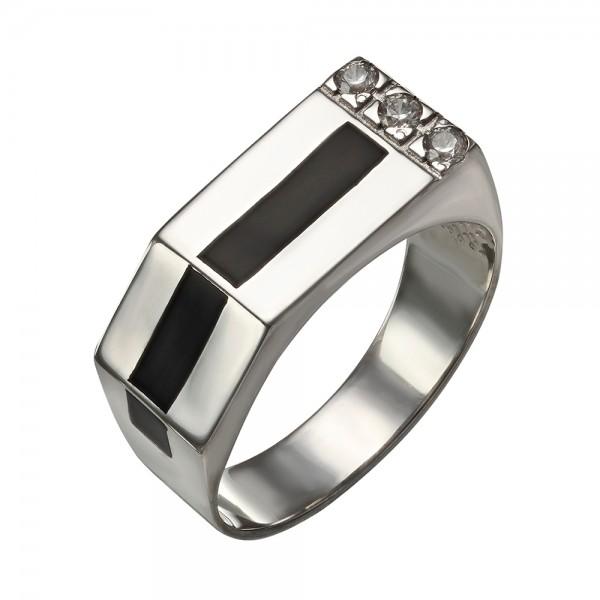 Перстень серебряный с эмалью и фианитами 380091А