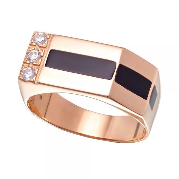 Перстень золотой с эмалью и фианитами 380091Е