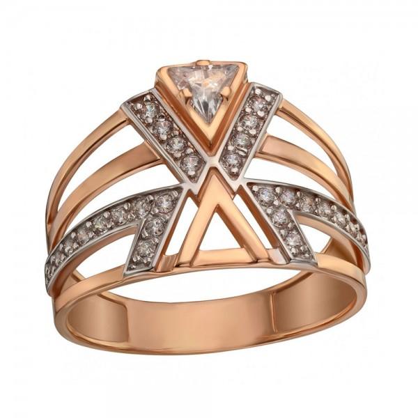 Кольцо золотое с фианитами 380473