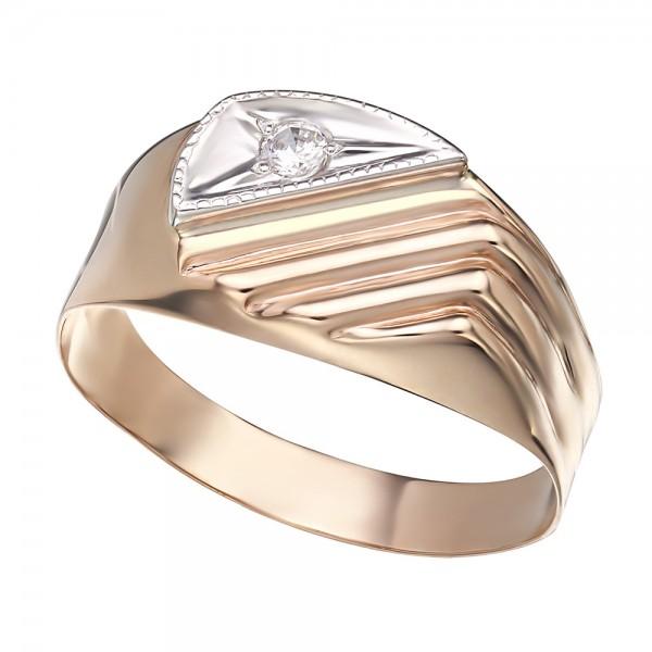 Перстень золотой с фианитом 391087