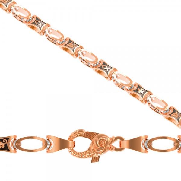 Цепочка из красного золота с орнаментом К2ЦР607-2-3