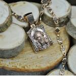 Двусторонняя ладанка из красного золота с ликом Иисуса Христа и молитвой «Отче Наш» ЛС2-3208-3