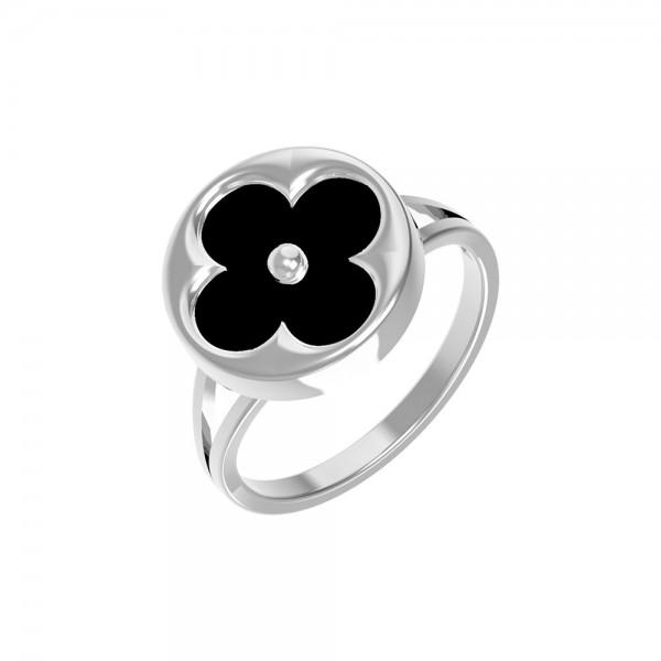 Кольцо «Амальфи» из белого золота с ониксом Т1-1436-0