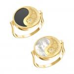 Кольцо из желтого золота с ониксом, перламутром и фианитами «Азия» Т1-1448-1