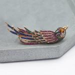 Кольцо из красного золота «Попугай» с эмалью и фианитами Т1392-2