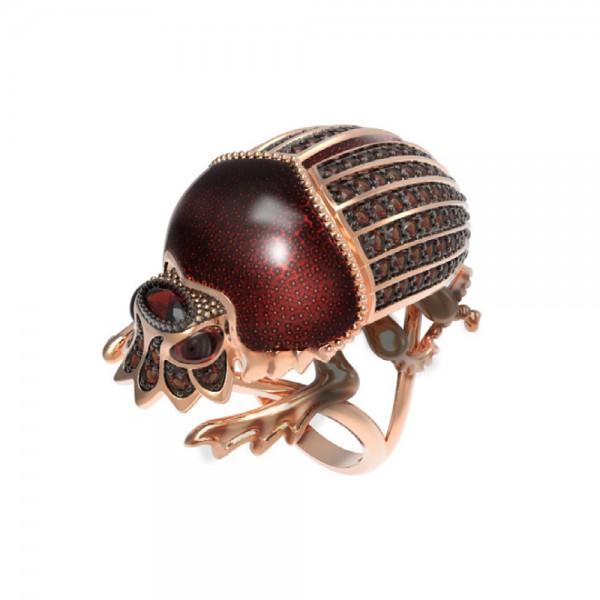 Кольцо из красного золота «Жук скарабей» с гранатом и эмалью Т3-1409-2-4