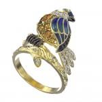 Кольцо из желтого золота «Птичка» с сапфиром, фианитами, эмалью и цитрином Т3-1453-1-6
