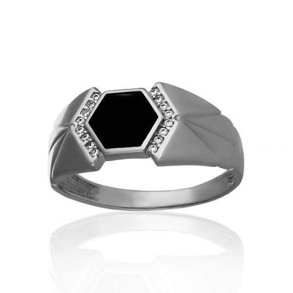 Перстень серебряный с эмалью и фианитами 2ПЧ206