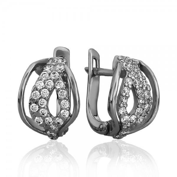 Серьги серебряные с фианитами 2СВ1575