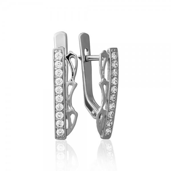 Серьги серебряные с фианитами 2СВ1597