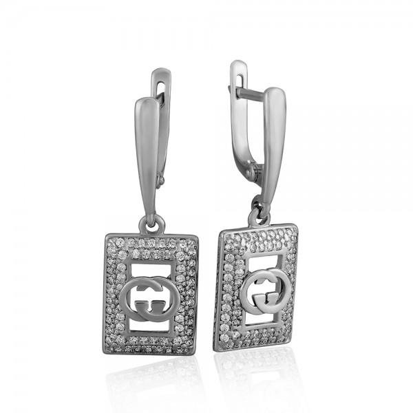 Серьги серебряные с фианитами 2СВ1735