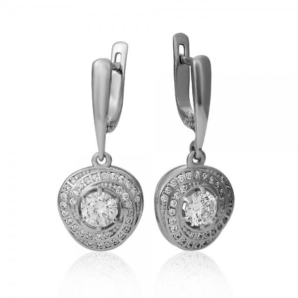 Серьги серебряные с фианитами 2СВ1762