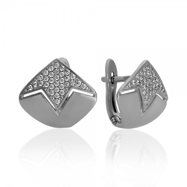 Серьги серебряные с фианитами 2СВ1772