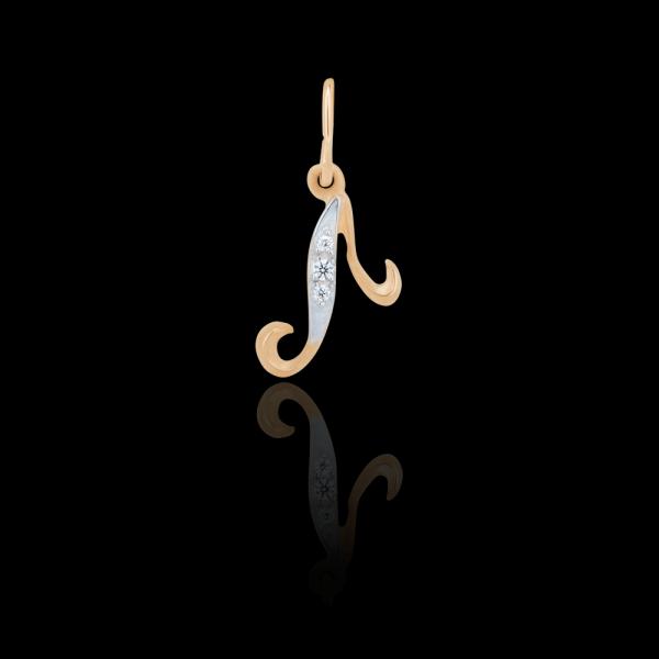 Подвеска золотая с фианитами Буква «Л» 1_62316